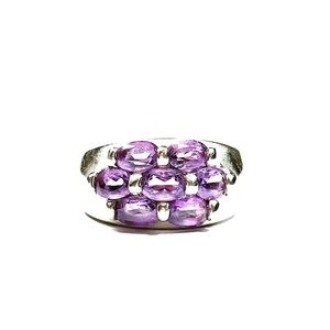 Sterling Silver .925 Amethyst CZ Dome Ring